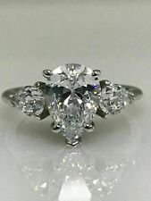 Pear Shape Moissanite with Pear Accents Engagement Ring 3.00 tcw 14K White Gold