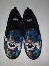 Mens BATMAN SHOES Black Canvas CASUAL SLIP ON LOAFERS Size 11