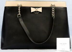 Kate Spade Bow Detail Large Handbag Satchel Purse Black Leather Chain Accent