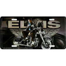 Elvis On Motorcycle With Wings Metal License Plate