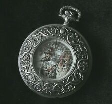 17 JEWEL SWISS POCKET WATCH, SOLID STERLING SILVER 52mm DEMI-HUNTING CASE - NOS!