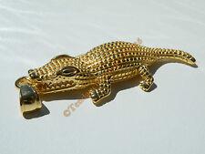 Pendentif Crocodile Caiman Alligator Doré Plaqué Or Pur Acier Inoxydable Chaine