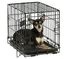 Collapsible Dog Crate Metal Single Door Dog Folding Crates Fully Equipped Black