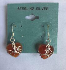 Sterling Silver Wire Wrapped Carnelian Heart  Dangle Earrings Retail 35-NWT