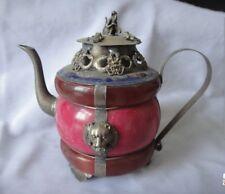 Decorated Old Handwork Jade Cloisonne Armor Tibet Silver Dragon lion Head Teapot