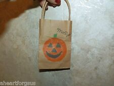 American Girl MOLLY RETIRED HALLOWEEN BAG Pumpkin face Brown Bag OR ANY AG DOLL