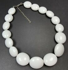 """Vintage Necklace Choker 16-19"""" Huge White Lucite Beads Silver Tone Retro"""