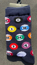 Ladies/Girls Navy Blue With Billiards Snooker Pool Balls On Cotton Ankle Socks