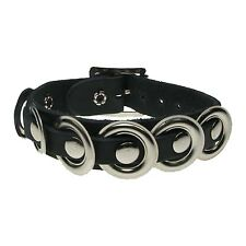 Black Gothic Punk High Quality Fittings Real Leather Wristband Handmade In UK