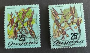Guyana 1968, Flowering Plants, 25c - both types, used