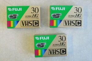 LOT OF 3 FUJI SUPER HG TC-30 VHS C COMPACT RECORDING VIDEOCASSETTE