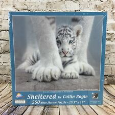 Shletered by Collin Bogle White Tiger 550 Piece Jigsaw Puzzle Sunsout