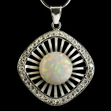 Alducchi White Rainbow lab Fire Opal -CZ .925 Silver Pendant,Snake Necklace