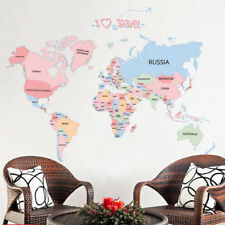 Colorful World Map Wall sticker Educational Art Decals Kids Room Nursery Decor