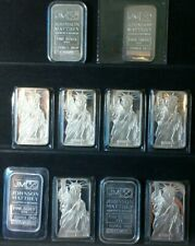 10 Ounce LOT 1oz NUMBERED Silver Bars .999 by Johnson Matthey ETC