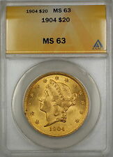 1904 $20 Liberty Double Eagle Gold Coin ANACS MS-63 SB (B)