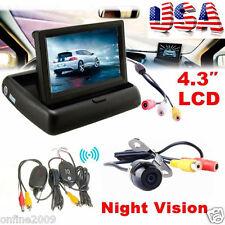 4.3 Wireless Car Rear View Monitor Car Backup Camera Parking System Kit CMOS US