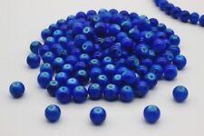 140 pce Dark Blue Round Drawbench Glass Beads 6mm Jewellery Making Craft