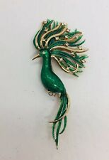 Marcel Boucher Vintage Yellow Gold Plated Rhinestone Green Enamel Bird Pin