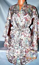 Victorias Secret Designers Collection 100% Silk Kimono Robe Paisley NWT M / L