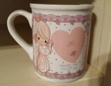 Precious Moments Personalized coffee tea cup pink white heart 1994 Jill Enesco