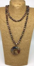 Fashion Long Knot Leopard Skin Stone Beads life tree pendant Necklace Handmade