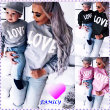 Mother and daughter LOVE sweatshirts parent-child dress family outfit mom and me