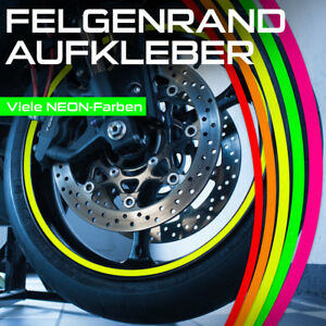 NEON Felgenrandaufkleber 4 mm für Auto Motorrad Wohnmobil Wohnwagen Roller usw.