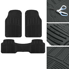 CarXS Proliners Classic Rubber Floor Mats Black-3pc Heavy Duty Diamond Grid