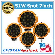 4PCS 51W LED Work Light 7'' Spot Slim Lamp Fits Jeep Wrangler Car Ford Yellow MS