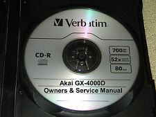 AKAI GX-4000D  SERVICE & OPERATOR'S  MANUAL ON A CD IN A HARD CASE FREE SHIPPING