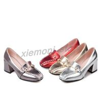 Womens Slip On Oxfords Loafers Block Kitten Heel Pumps Metal Dector Casual Shoes