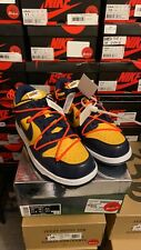 11.5 13 Nike Dunk Low LTHR OFF-WHITE Gold Navy CT0856-700 100% Authentic