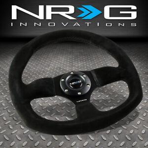 NRG REINFORCED 320MM ALUMINUM BLACK SUEDE FLAT BOTTOM D-SHAPE STEERING WHEEL
