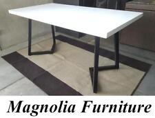 White Quartz Stone Top Powder Coated Steel Frame Dining table 150 * 80 *H74cm