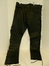 Mens black Leather pants with lace up sides.