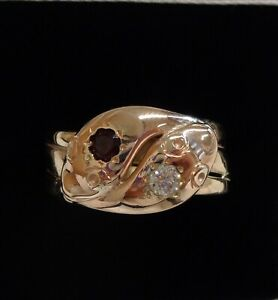 Fine Antique C.1931 Double Snake Ring 375 (9ct) Rose Gold - Size W 1/2