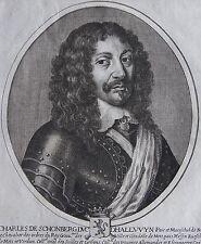 CHARLES DE SCHONBERG DUC DHALLUVYN......Portrait. Gravure originale de 1652.