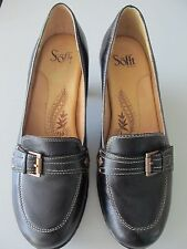 Womens Sofft black leather loafers heels pumps with buckle and studs 8M On SALE!