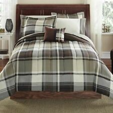 King Size Comforter and Sheet Set Brown Plaid Bed in a Bag Bedding