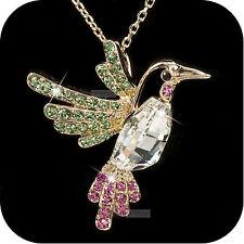 18k rose gold gp made with SWAROVSKI crystal bird pendant hummingbird necklace