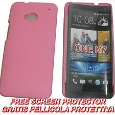 Pellicola+custodia BACK COVER RIGIDA ROSA per HTC One M7
