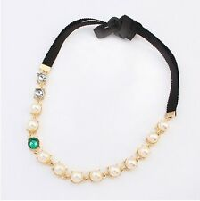New Korean Fashion Golden Hair Accessory Pearl Crystal Ribbon Headband Hair Band