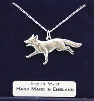 Running Fox Necklace, Fine English Pewter, Handmade, Gift Boxed