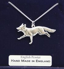 Pewter, Handmade, Gift Boxed Running Fox Necklace, Fine English