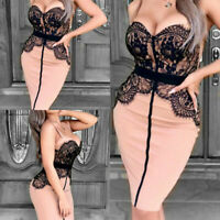 Evening Club Bodycon  Party Women Sexy Short Mini Dress Cocktail Lace Bandage