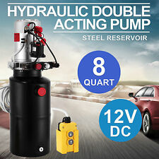 12v DC Hydraulic Double Acting Pump 8l Dump Trailer Power Pack 3200psi Electric