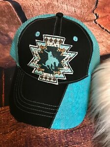 Southern Aztec Teal Lace Cowboy Criss Cross Pony Tail Back Cute Boutique