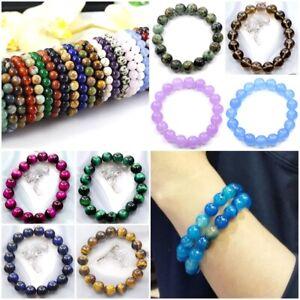 Handmade Women,Men 8mm Natural Gemstone Stretchy Bracelet Healing Reiki Bangle