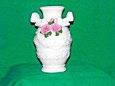 Vintage Large Ceramic Off White Vase Doves and Pink Roses